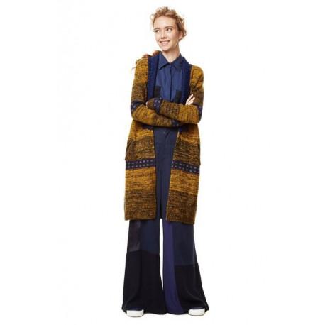 Desigual Blue & Mustard Knitted Verin Long Cardigan