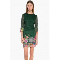 Desigual Green/Floral Lace Chipi Dress