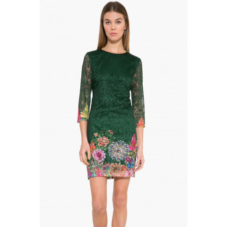 Desigual Green/Floral Lace Chipi Dress