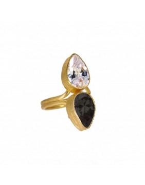 Ottoman Hands White & Black Two Stone Crystal Ring