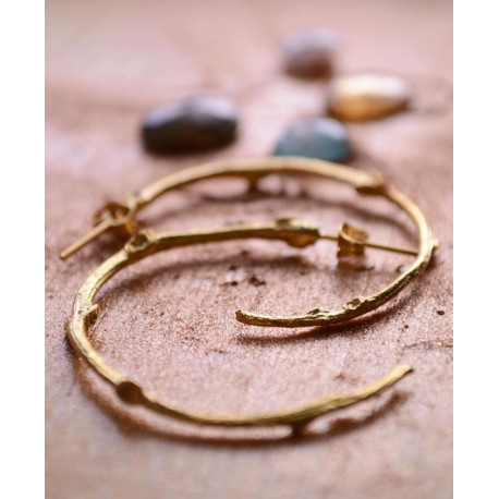 Ottoman Hands Gold Twig Hoop Earrings