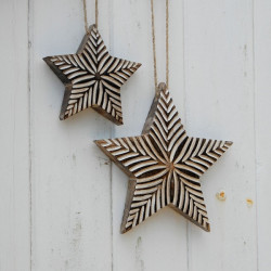 Small Antique White Carved Star