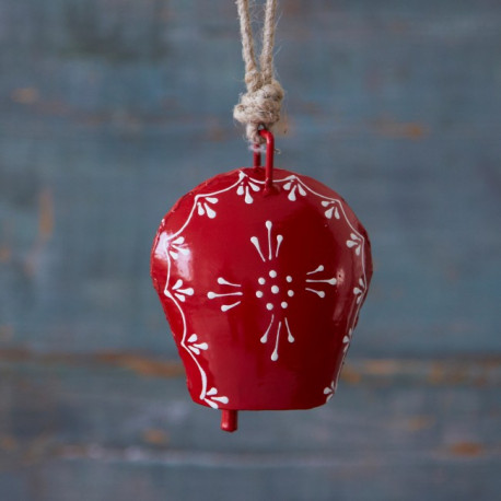 Red Hand Painted Iron Bell