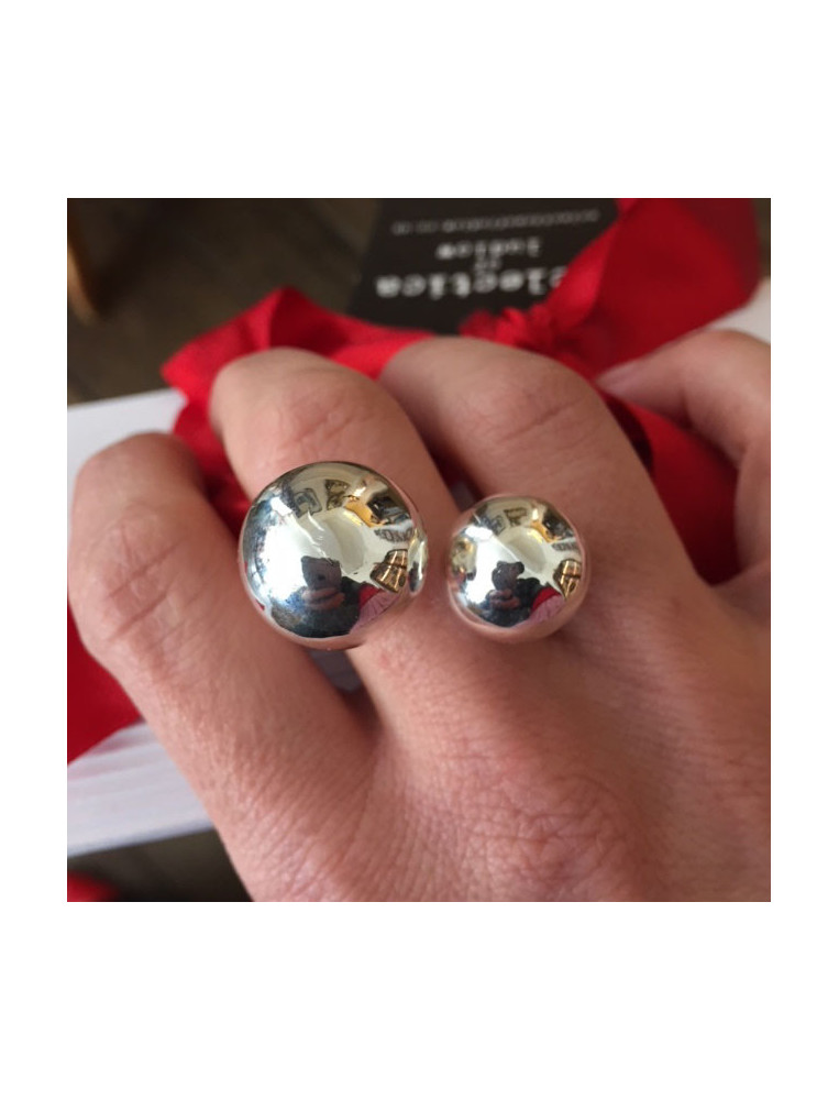 Silver Two Ball Adjustable Ring