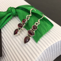 Garnet Three Stone Earrings