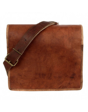 Small Brown Leather Courier Bag