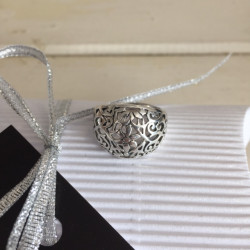 Cut-Out Floral Silver Ring