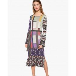Desigual Multi Fine Knit Patterned Celeste Dress
