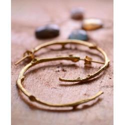 Ottoman Hands Gold Twig Hoop Earrings