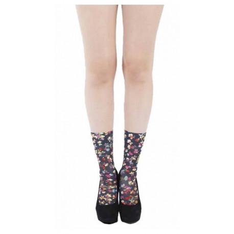 Black Ditsy Floral Pop Socks