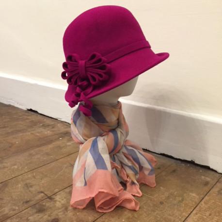 Hot Pink Wool Cloche Hat