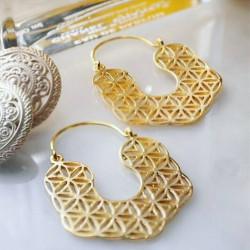 Ottoman Hands Kaleidoscope Filigree Hoop Earrings