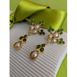 Ottoman Hands Green Agate & Pearl Stud Dangles