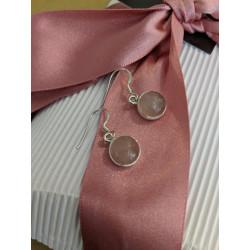Rose Quartz Round Dangle Earrings