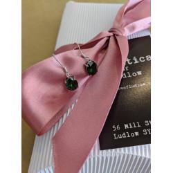 Emerald Oval Dangle Earrings
