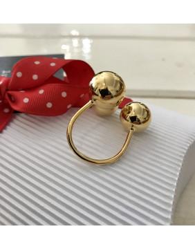 Gold Triple Ball Ring