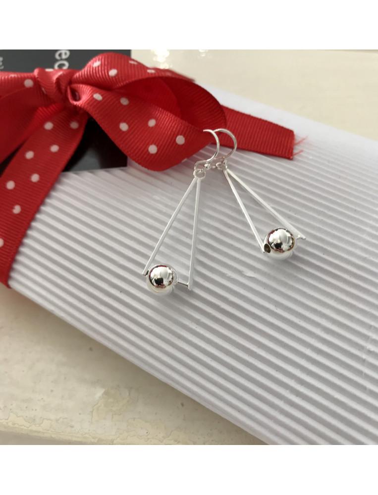 silver triangle & ball earrings